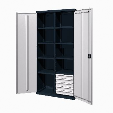 Инструментальный шкаф с 5 ящиками и 8 полками