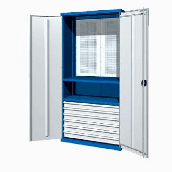 Инструментальный шкаф 6 ящиками, перфорированной панелью и 2 полками 03.3062