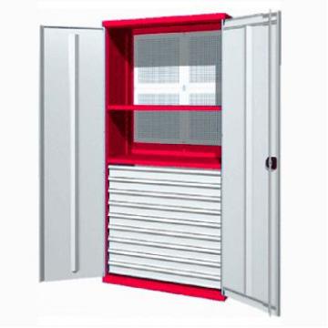 Инструментальный шкаф с 9 ящиками, 2 полками и панелью