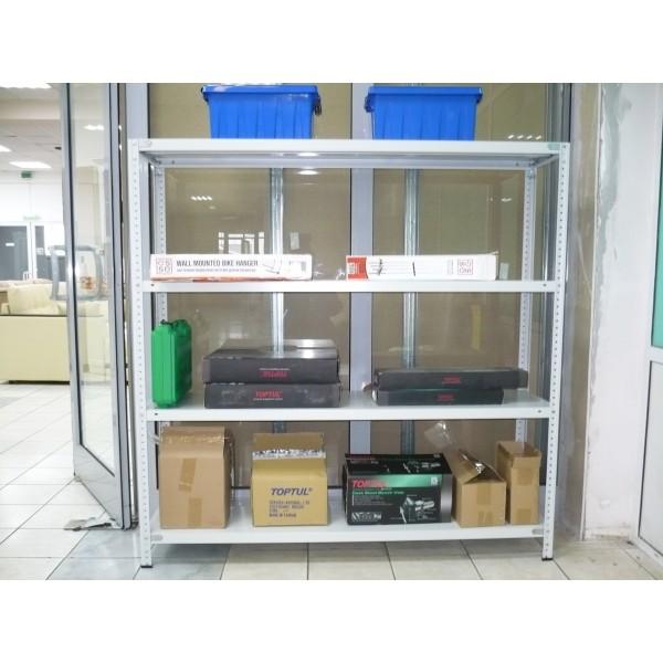 СТФ Сборный металлический стеллаж высотой 1,5 метра  4 полки 1,5х0,4 м 100 кг/п