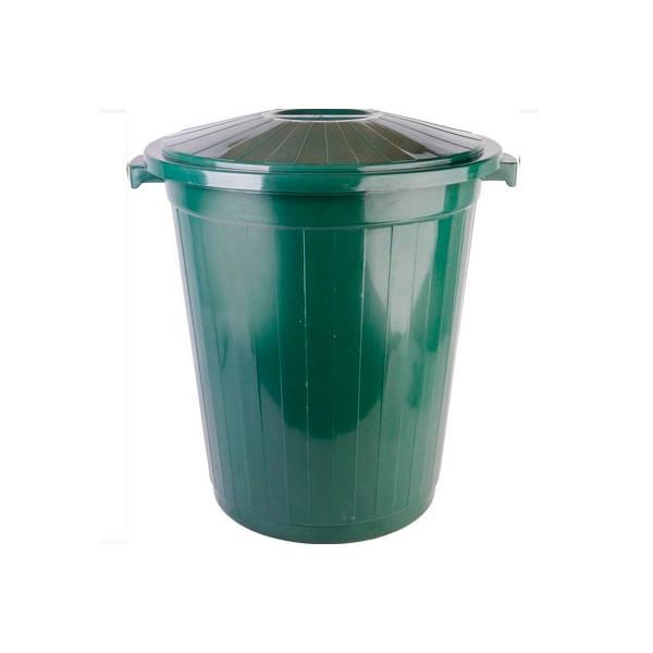 Пластиковый мусорный бак с крышкой 65 литров.