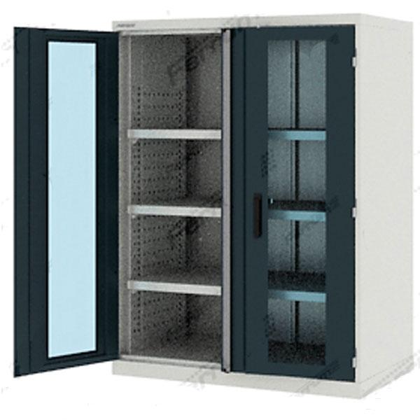 Шкаф усиленный инструментальный со стеклянными дверцами и 3 полками высотой 1400 мм 43.1201