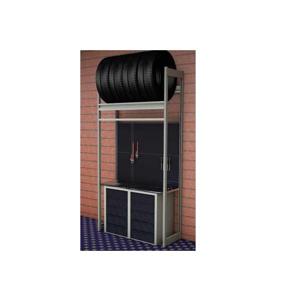 Стеллаж для колес с верстаком для гаража SKC1